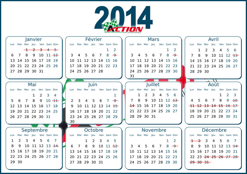 Calendrier 2014 Action Karting